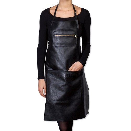 DUTCHDELUXE Zipper style aprons Classic leather Black