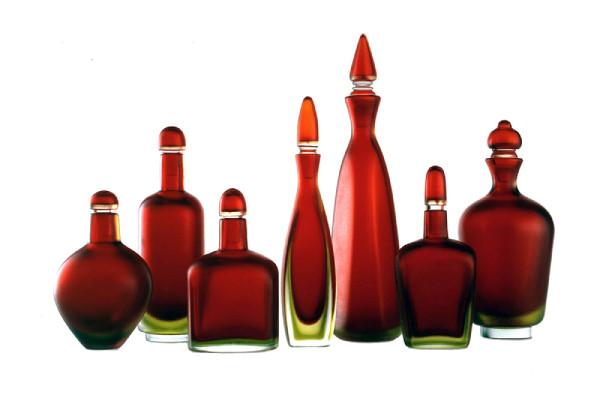 Venini - Bottiglie incise lampone